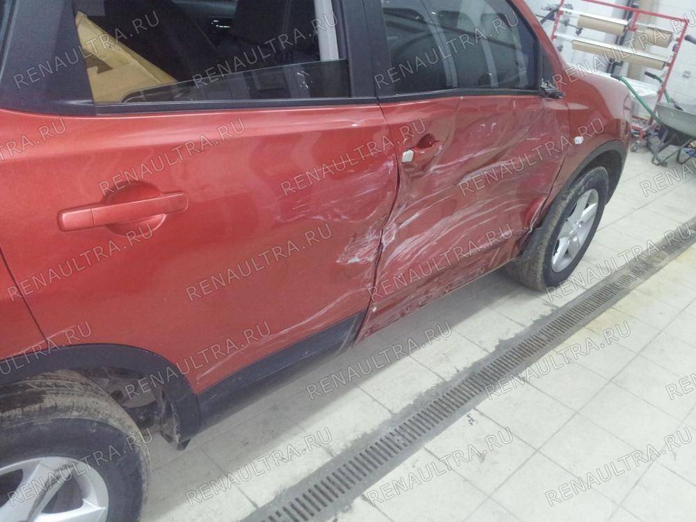 Nissan Qashqai / Ремонт правой стороны кузова, покраска заднего бампера. / СТО Р-Кузов / до ремонта
