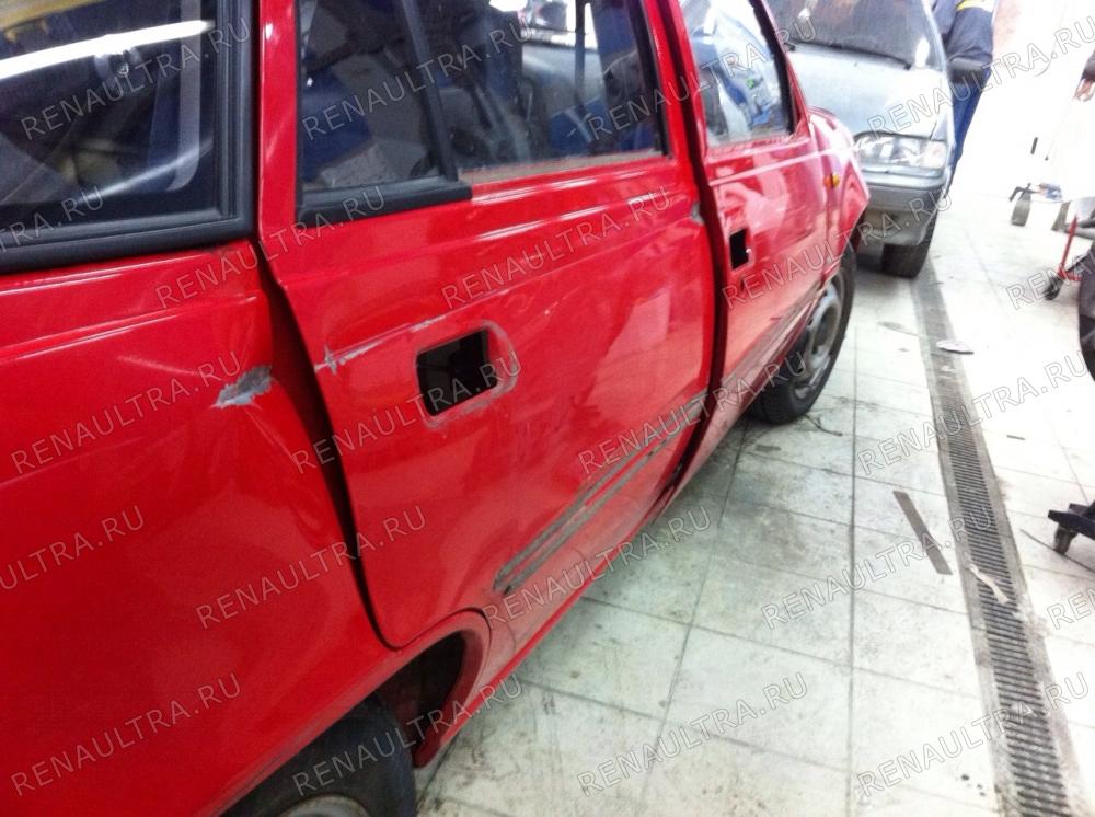 Daewoo Nexia / Ремонт правого заднего крыла, ремонт правых дверей. / СТО Р-Кузов / до ремонта