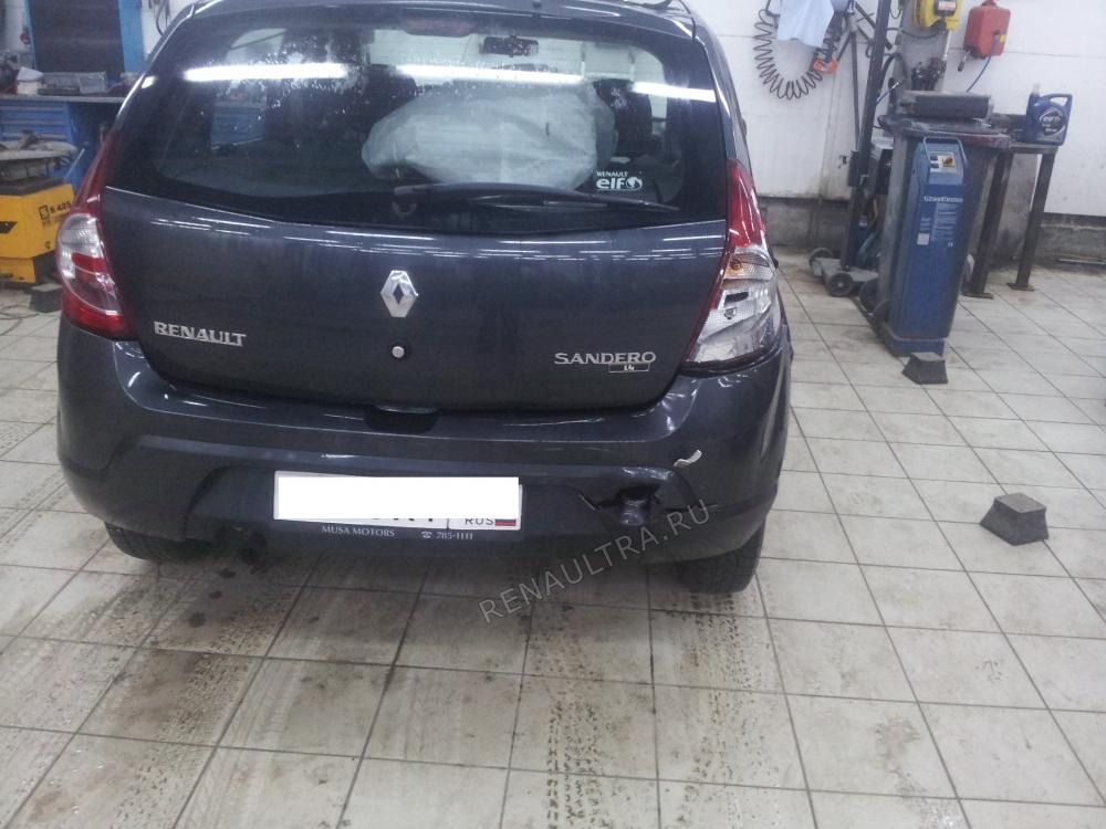 Смотреть подробности о ремонте RENAULT SANDERO Удар в заднюю правую часть автомобиля