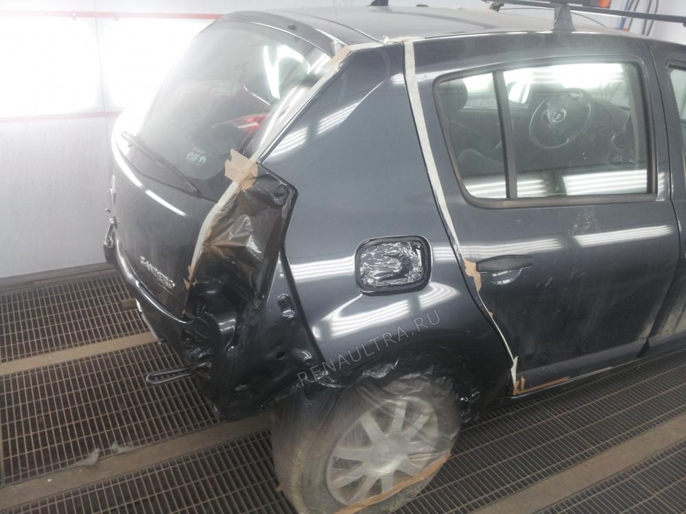 RENAULT SANDERO / Удар в заднюю правую часть автомобиля / СТО Р-Кузов / ремонт