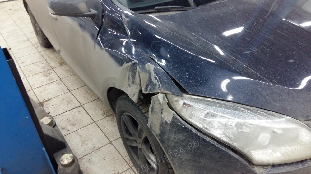 Renault Megane III / Удар в переднюю правую часть / СТО Р-Кузов / до ремонта