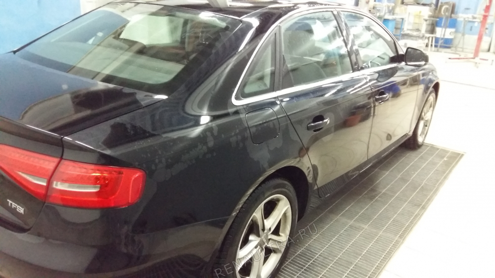 Смотреть подробности о ремонте Audi A4 2012 г.в. Ремонт заднего правого крыла, правого порога, заднего бампера.