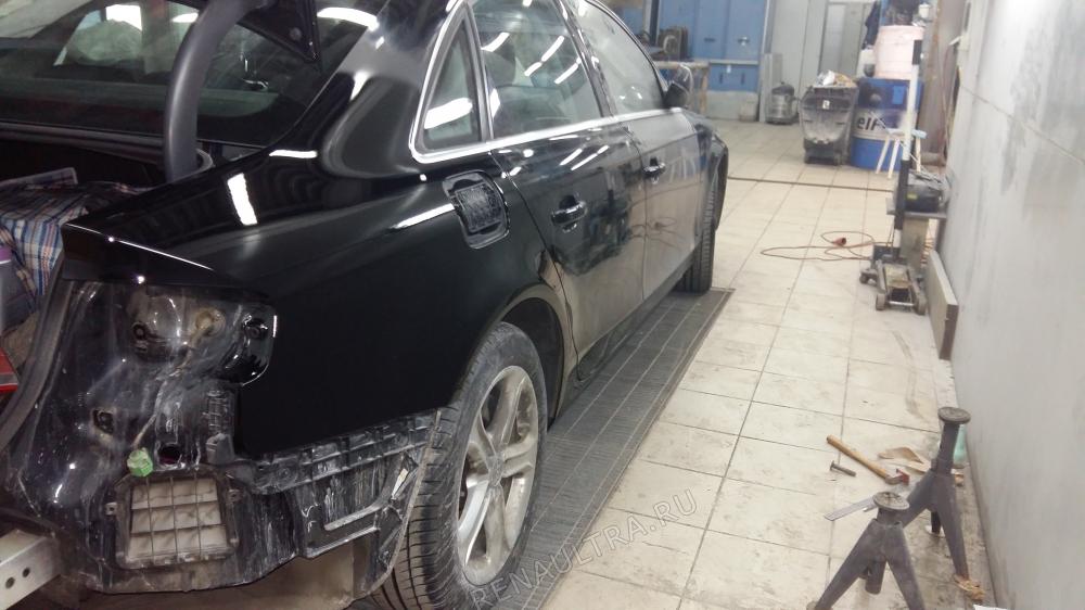 Audi A4 2012 г.в. / Ремонт заднего правого крыла, правого порога, заднего бампера. / СТО Р-Кузов / ремонт