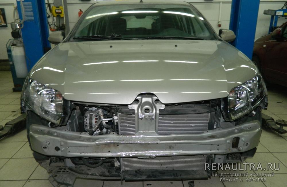 Рено Сандеро / ремонт усилителя переднего бампера, замена переднего бампера / СТО Р-Кузов / до ремонта