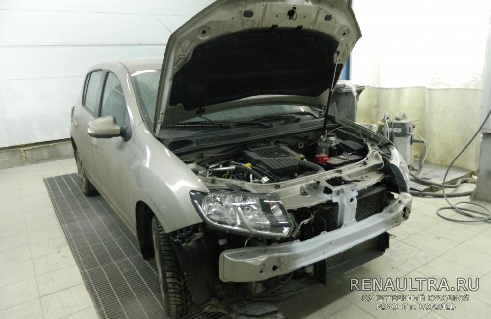 Рено Сандеро / ремонт усилителя переднего бампера, замена переднего бампера / СТО Р-Кузов / ремонт